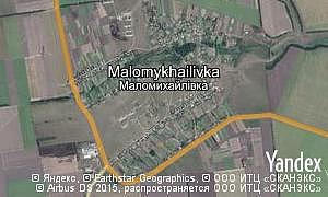 Yandex map of  village Malomykhailivka