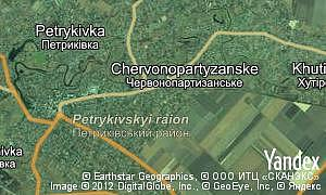 Map of  village Chervonopartyzanske