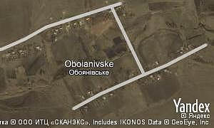 Yandex map of  village Oboianivske