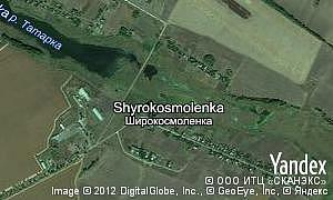Yandex map of  village Shyrokosmolenka