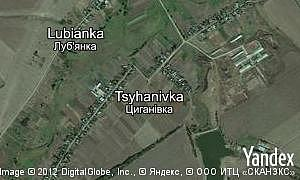 Yandex map of  village Tsyhanivka